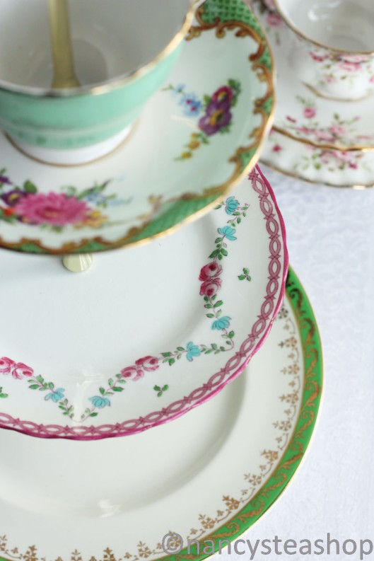 Three tier cake stand from vintage English plates from Nancy's Tea Shop on Etsy