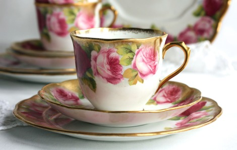 Royal Albert Old English Rose tea cup saucer and plate from Nancy's Tea Shop on Etsy