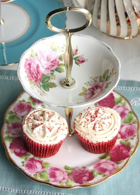 Two tier cake stand from Nancy's Tea Shop from Royal Albert vintage plate and bowl