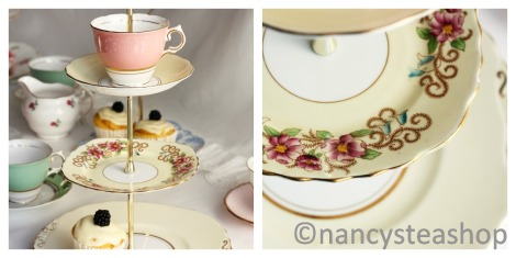 Colclough vintage china cake stand - lemon and pink