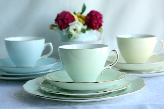 Royal Vale pastel coloured tea sets