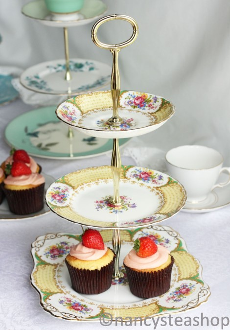 Yellow three tier cake stand made from vintage Tuscan flower china