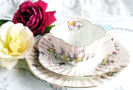 A picture of a vintage English china tea set