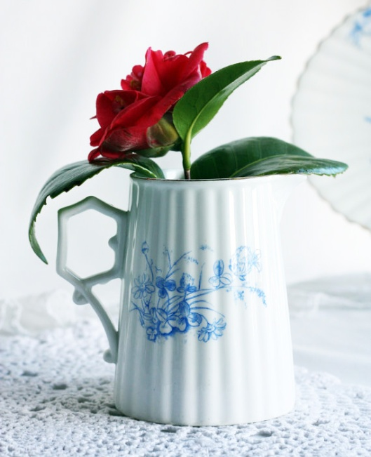 A picture of a vintage English china milk jug