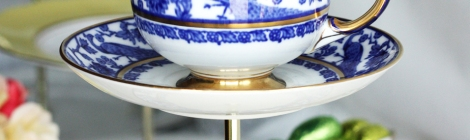 A photo of English china cake stand from nancysteashop on Etsy made with vintage Paragon china