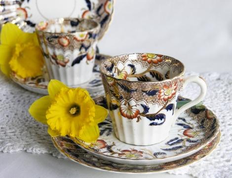 A photo of a vintage china tea set