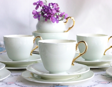 A photograph of A Paragon vintage china tea set