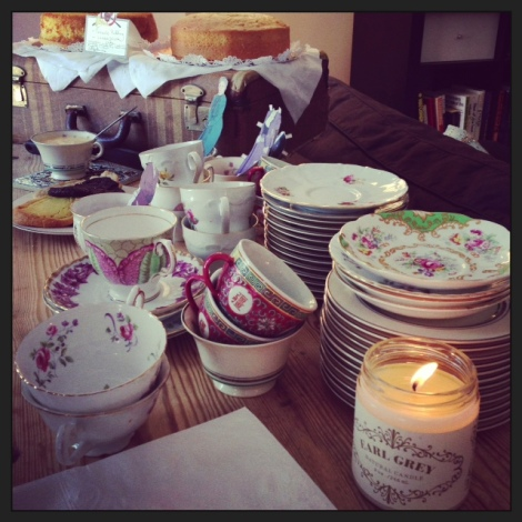A photo of vintage teacups and saucers