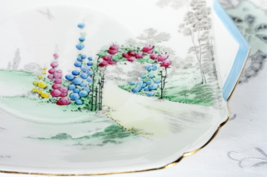 A picture of vintage English china cake plate by Shelley