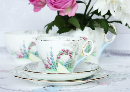 A picture of Vintage English china teacup, saucer and plate by Shelley - Archway of Roses