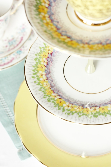 A photo of Yellow vintage cake stand from Nancy's Tea Shop