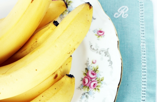 A photo of bananas on a vintage Royal Albert Tranquility plate