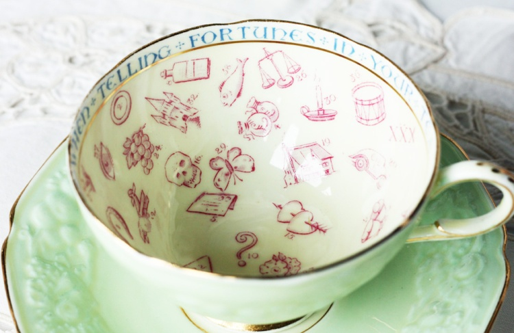A photo of a Paragon china fortune telling vintage tea cup