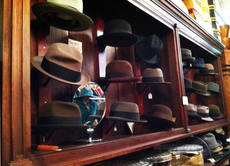 A photo of Men's vintage hats in a clothing shop in Boston