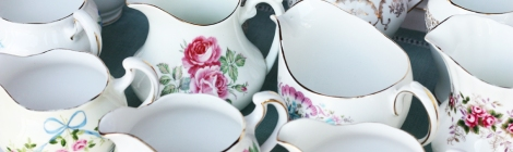 A photo of a selection of vintage china jugs