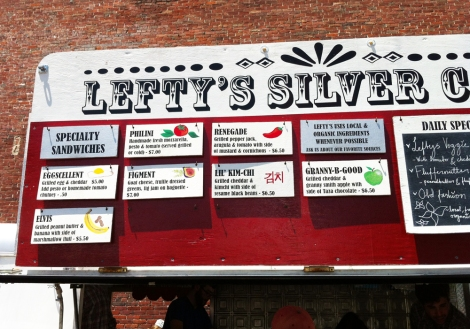 A photo of Lefty's food cart in SoWa Open Market in Boston