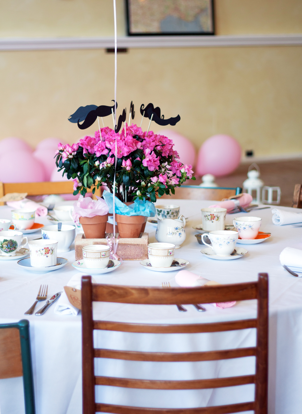 A Photo Of Table At Vintage Style Wedding Tea Party