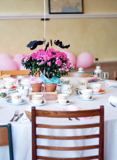A photo of a table at a vintage style wedding tea party