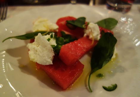 A photo of watermelon and chevre salad