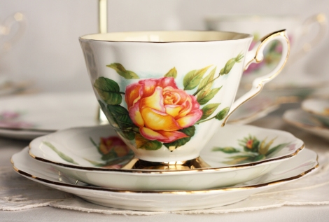 A photo of Royal Stafford Harry Wheatcroft tea set called Peace