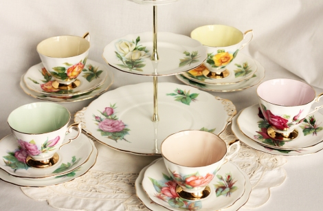Royal Stafford Harry Wheatcroft tea sets with cake stand