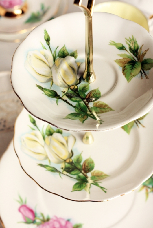 A photo of a three tier cake stand made with vintage Harry Wheatcroft vintage china