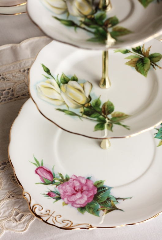 A photo of Cake stand made from vintage Royal Standard china in a Harry Wheatcroft pattern