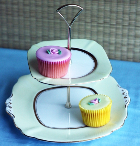 A photo of a lemon cake stand made with English vintage china