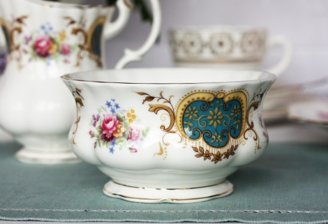 A photo of a Royal Albert vintage china sugar bowl