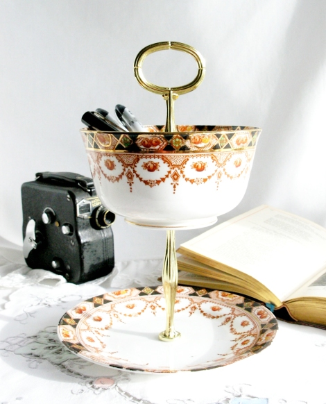 a photo of a Desk organiser stand made from Thames vintage china