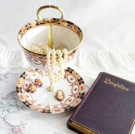 A photo of a Jewellery stand made from Thames vintage china
