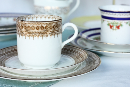 A picture of two vintage English china cups and saucers
