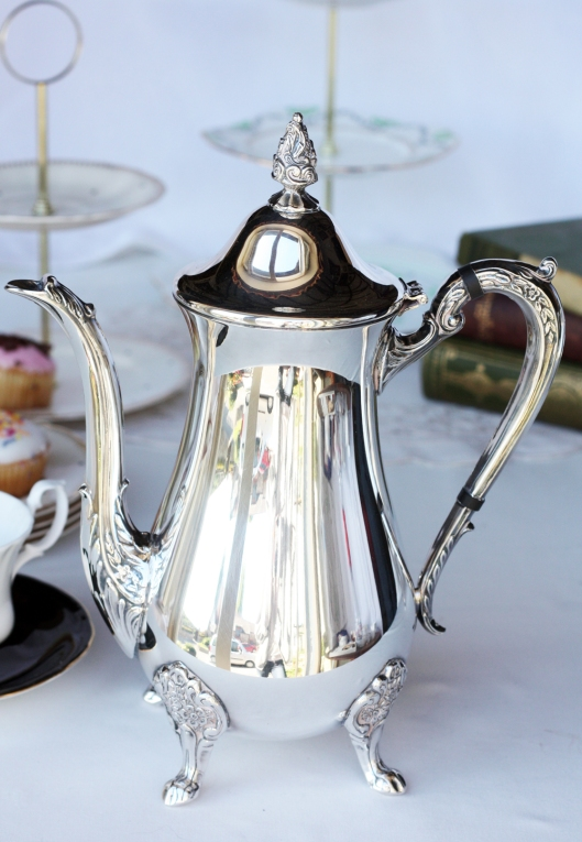 A picture of a Vintage silver-plated EPNS coffee pot