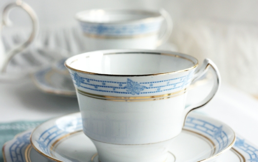a picture of a vintage Melba china tea set with blue butterfly detail