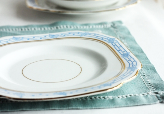 a picture of a vintage Melba china plate with blue butterfly detail