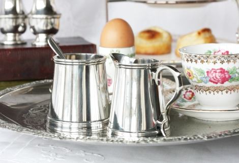 A picture of a Vintage silver-plated creamer and sugar bowl