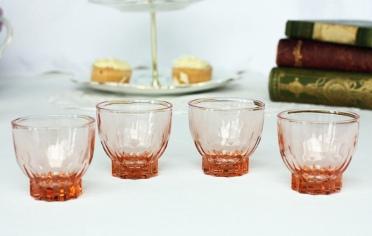 A photo of French vintage peach glasses