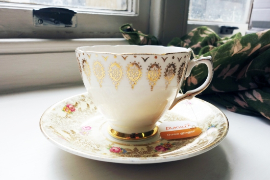 A picture of a vintage English china tea cup and saucer