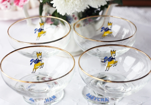 A photo of vintage Babycham glasses