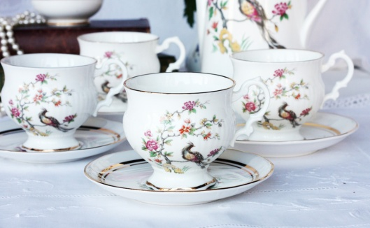 A photo of a vintage Sutherland fine china coffee set