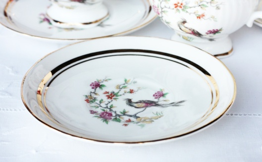 A photo of a Sutherland vintage china saucer