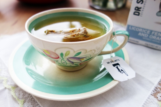 A photo of a tea cup and saucer with Dr Stuart's tea