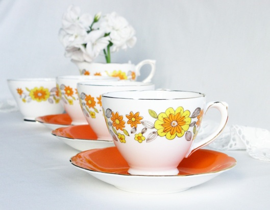 A photo of a vintage Sutherland bone china tea set