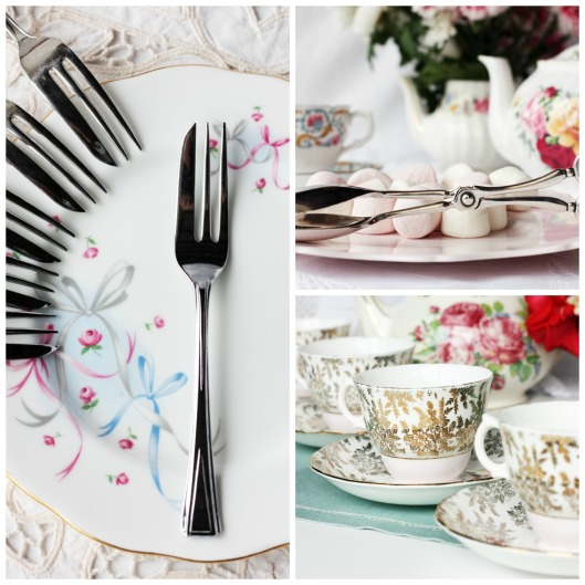 Photos of vintage china and cutlery