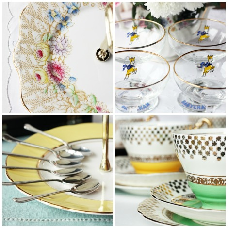 Photos of vintage china, glassware and cutlery