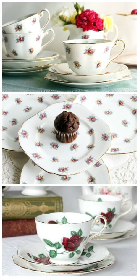 Royal Standard vintage china flower tea cups, saucers and plates