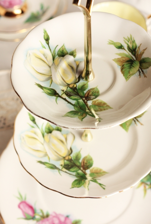 A picture of a three tier cake stand from vintage Royal Standard English china