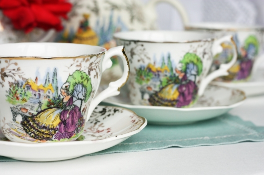 A picture of three Zena vintage English bone china tea sets
