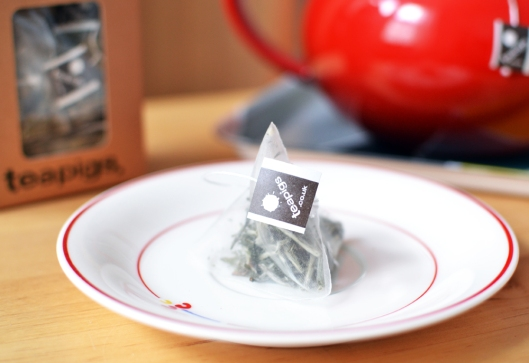 A picture of a Teapigs tea temple on a vintage Japanese saucer