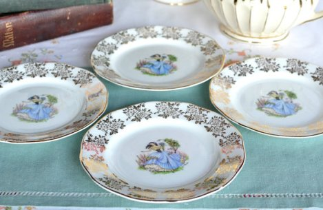 A photo of a Dainty Miss vintage side plates